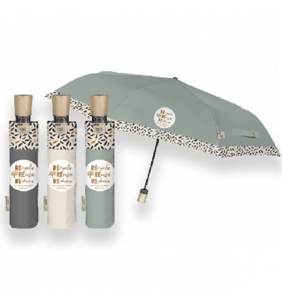 Perletti GREEN umbrella 54/8 Automatic - Recycled Fabrid and wooden*+/36